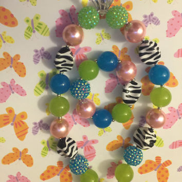 Girls Jewelry/Toddler/Baby/Necklace/Chunky Necklace/Bubble Gum Beads/Zebra Pattern/Large Faux Diamond/Gift Giving/Christmas Gift