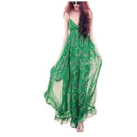 Slip Dress Green Beachwear Maxi Gown Dress Chiffon Boho Cocktail Party Dress:Amazon:Clothing
