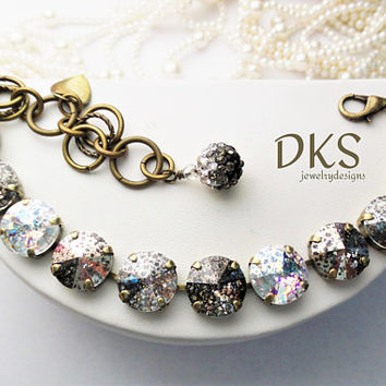 Pretty Patina's, Swarovski 12mm Bracelet,Neutral, Antique Gold, Adjustable, Bridal,Designer Inspired, DKSJewelrydesigns, FREE SHIPPING