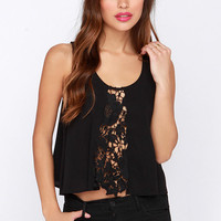 Front and Center Black Crochet Top