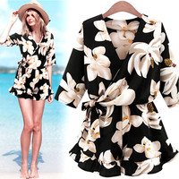 Plus Size XLXXXXL Women's Jumpsuits Floral Print Playsuit Clubwear Bodycon Party Jumpsuit Romper Overalls for women CF