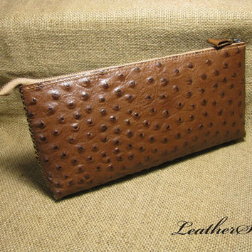 Handmade ostrich  Leather  Clutch handbag - brown