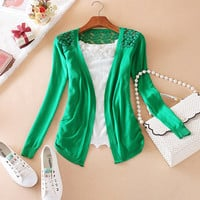 Candy Color Hollow Thin Knitting Blouse
