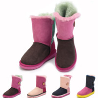 """UGG"" Women Fashion Casual Splicing Wool Snow Boots Calfskin Shoes G"
