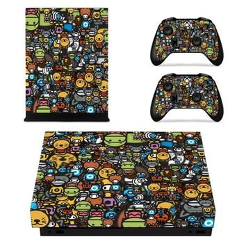 X0140 Game accessories Skin Sticker for Microsoft Xbox One X Console and 2 Controllers skins Stickers for XBOXONE X Enhanced