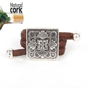 Natural cork Antique square flower vintage women Ring original, adjustable  handmade wooden vegan jewelry HR-003