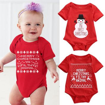 Newborn Baby Girls Boys Short Sleeve Bodysuit Xmas Christmas One Piece Junpsuit Lovely Snowman Jumpsuit Outfits For Baby