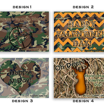 Camo Valentines Cards - Boys Classroom Valentines - Camouflage Valentine Card - Buck Hunting - Personalized Hunter - Deer - Redneck Cards