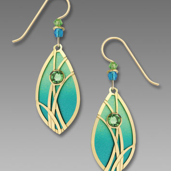 Adajio Earrings - Azure and Peridot with Reeds Overlay and Cabochon