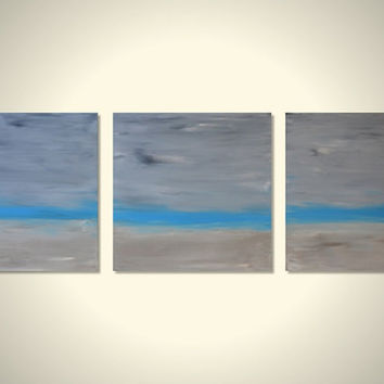 Large Original Triptych Painting Acrylic Wall Art Decor - Bright Blue, Soft Tan, Grey - Shabby Chic - Big 3 Canvas 12 x 12 - The Beach House