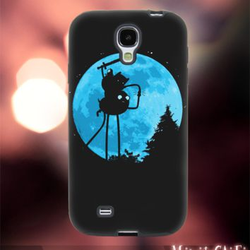 MC42Z,14,adventure time,night,moon,space,nebula-Accessories case cellphone- Design for Samsung Galaxy S5 -Black case - Material Soft Rubber