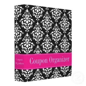 Pink and Black Damask Coupon Organizer 3 Ring Binder from Zazzle.com