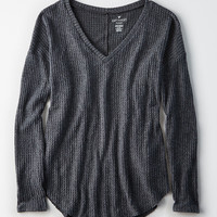 AE Soft & Sexy Plush Waffle Knit Top, Charcoal