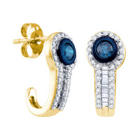 Blue Diamond Fashion Earrings in 10k Gold 0.65 ctw