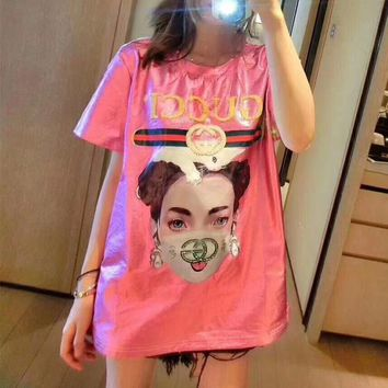 """""""Gucci"""" Women Casual Fashion Multicolor Beaded Letter Girl Portrait Print Short Sleeve T-shirt Top Tee"""