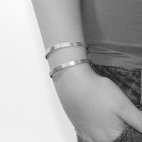 Stacking Cuffs, Cuff Bracelets, Set of Two, Adustable Cuffs, Hand STamped Cuff, Hammered Cuff, Thin Bracelet, Personalized Bracelets
