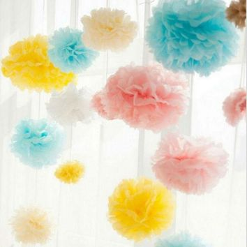 ac VLXC Hot sale Tissue Paper Pom Poms 20pcs/lot  20cm Wedding Party Decor Craft Paper Flowers Fur pompom