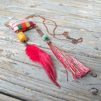 Summer Freedom Bohemian Necklace, Colorful, Eclectic, Tassel and Feather Pendant with Vintage Embroidery