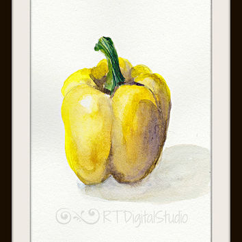 Yellow Bell Pepper In Watercolors Print- Kitchen Art/Pepper Illustration /Home Decor/Food Art/ Botanical Art/  Still Life