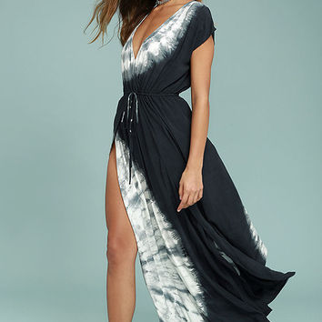 Sea Salt of the Earth Midnight Blue Tie-Dye Maxi Dress