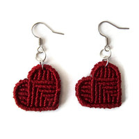 red macrame heart earrings, fashion jewelry for her, knotted red hearts on silver earhooks, valentines day gift