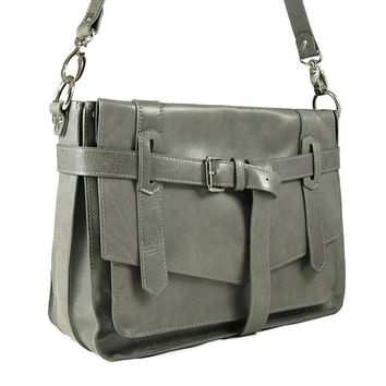 KAY gray leather satchel