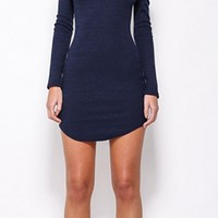 Full Of Life Navy Blue Long Sleeve Off The Shoulder Bodycon Mini Dress