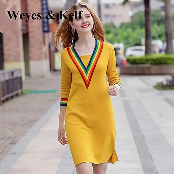 Weyes & Kelf Autumn V-neck Long Sleeve Knit Sweater Dress Women Robe Femme Ete 2017 Fashion Slim Side Slit Party Women Dresses