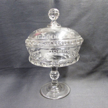 EAPG Ripley Dakota Compote   Ripley Glass Covered Dish   Etched Fern and Berry   Baby Thumbprint