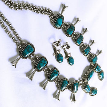 Vintage Designer Signed Goldette Turquoise & Silver Demi Parure - Squash Blossom - Faux Turquoise Pendant Necklace and Earrings - Southwest