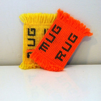 Mug Rug, Orange and Yellow Yarn Coasters on Plastic Canvas {1970s} Vintage Home Decor
