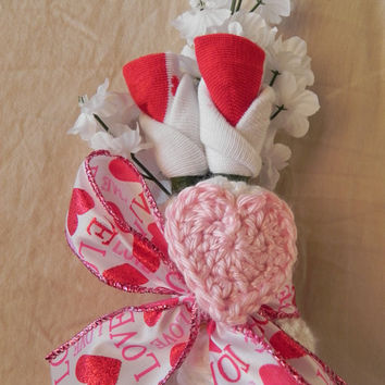 Girl Baby Shower Corsage with Heart Beanie Hat by JeannaSadorra