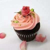 Chocolate Rose Water Cupcakes