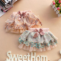 2-6Y Cute Baby Kids Girl Bow Floral Pompon Layered Skirt Floral Tulle Tutu Skirt For