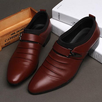 2017 Mens Dress Shoes Pointed Toe Work Flats Shoes Black Slip On Party Shoes Fashion New bb0454