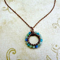 Handcrafted, Antiqued Copper and Chalcedony Wrapped Pendant Necklace