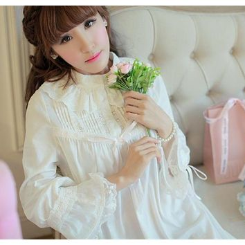 Sleepwear Princess Nightgown High Quality Long Nightdress Cotton. Gender   Women Item Type  Nightgowns ... 53b038a87