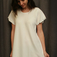 Short Sleeve Short Nightgown Cotton/Poly Basket Weave Made In USA | Simple Pleasures, Inc.