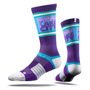 Strideline® 2.0 Swat Lake Purple Utah Jazz City Line Crew Socks NEW