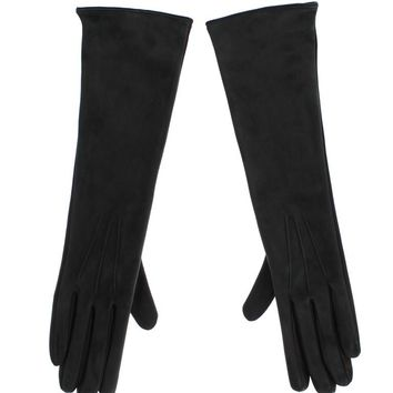 Gray Leather Silk Lined Elbow Long Gloves