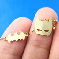 Batman Bat Logo Silhouette and Mask Charm Necklace in Gold