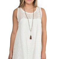 Umgee Women's Cream Lace Sleeveless Dress