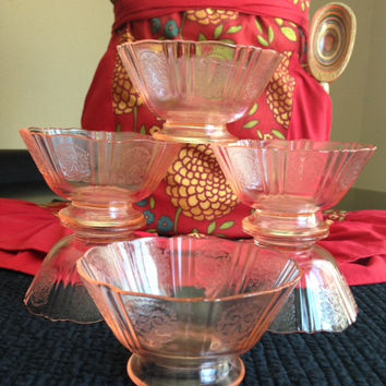 Pink Depression Sherbet Bowl Set, American Sweetheart Pattern by MacBeth-Evans Glass Company- Vintage 1930's