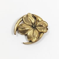 Mid Century Four Leaf Clover Horseshoe Pin with C Clasp Vintage 1950s Style Gold Tone Good Luck Pendant St Patrick's Day Tie or Dress Clip