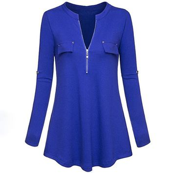 Casual Spring Long Sleeve Pullover Deep V Neck Ladies Tops