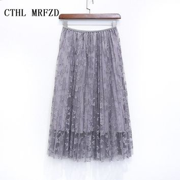 2016 women skirts bud silk skirts long pleated skirt of tall waist show thin posed the a - line skirt autumn/winter skirt