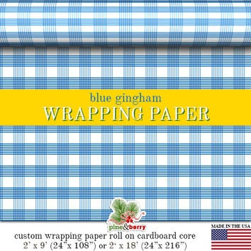 Blue Gingham Wrapping Paper | Custom Blue Gingham Plaid Gift Wrap In Matte Finish Available In 2 Sizes For Any Occasion. Made In The USA
