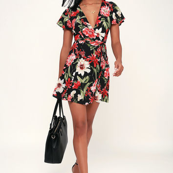 Dream Come True Black Floral Print Wrap Dress