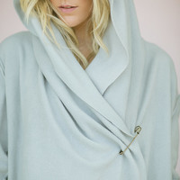 Yoga Wrap Fleece Slouchy Hoodie Cozy Jacket - Bohemian Warm Wrap Jacket with Raw Edge Detail in S/XS