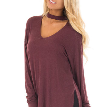Wine Jersey Knit Top with Cut Out V Neckline